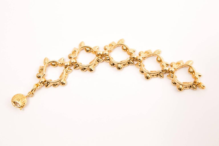 Yves Saint Laurent Pink Red and Gold Tone Bracelet In Excellent Condition For Sale In Paris, FR