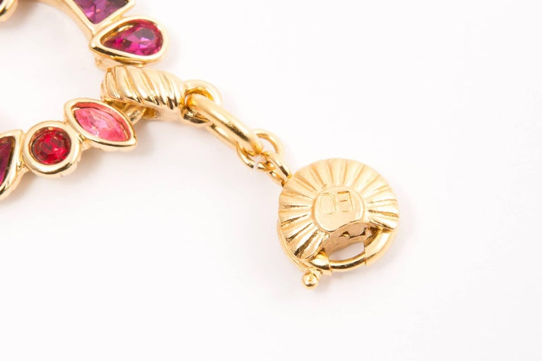 Yves Saint Laurent Pink Red and Gold Tone Bracelet For Sale 1