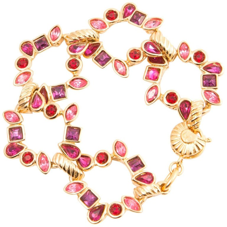 Yves Saint Laurent Pink Red and Gold Tone Bracelet For Sale