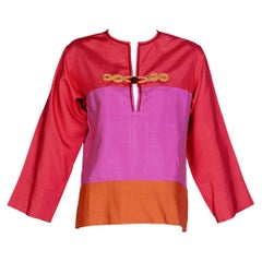 Yves Saint Laurent Pink Red Orange Color Block Silk Tunic Top YSL, 1990s