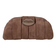 Yves Saint Laurent Pink Suede Lips Clutch Evening Bag Tom Ford Era