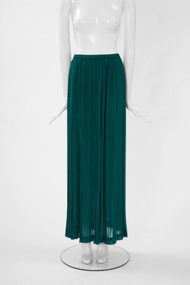 Women's Documented Yves Saint Laurent Pleated Silk Chiffon Ensemble, Spring-Summer 1979 For Sale