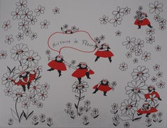 La Vilaine Lulu Among the Flowers - Lithograph