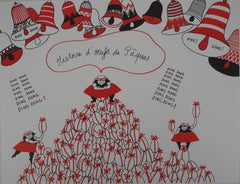 La Vilaine Lulu at Easter Time (Eggs and Bells) - Lithograph