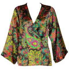 Yves Saint Laurent Psychedelic Paisley Silk Kimono Jacket YSL, 1970s