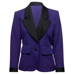 Yves Saint Laurent Purple & Black Wool Blazer