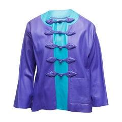 Yves Saint Laurent Purple & Cerulean Fall/Winter 1993 Leather Jacket