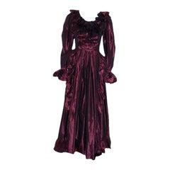 Yves Saint Laurent Purple Iridescent Silk Taffeta Gown, Circa 1970's