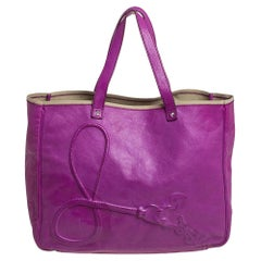 Yves Saint Laurent Purple Leather Charms Tote