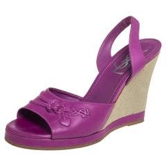 Yves Saint Laurent Purple Leather Wedge Slingback Sandals Size 38