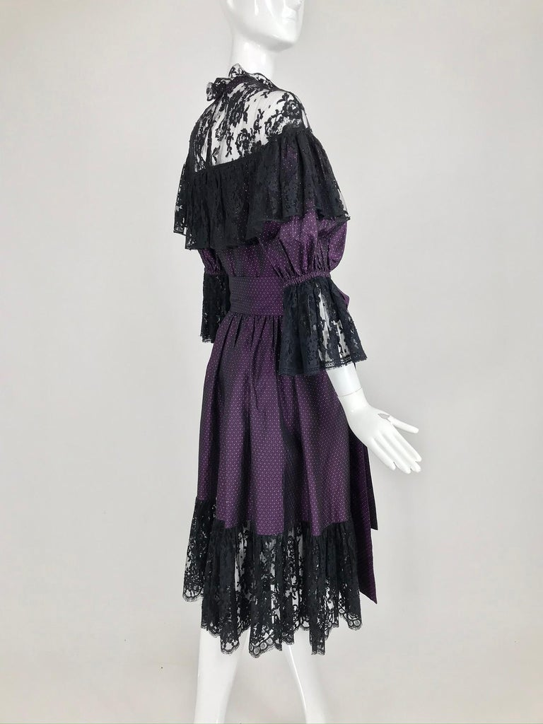 Yves Saint Laurent Purple Metallic Dot Black Lace Dress Documented 1980s  For Sale 6