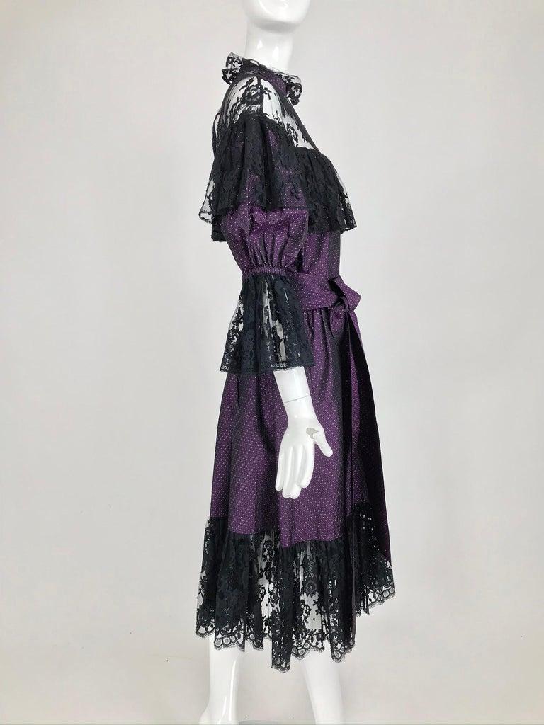 Yves Saint Laurent Purple Metallic Dot Black Lace Dress Documented 1980s  For Sale 7