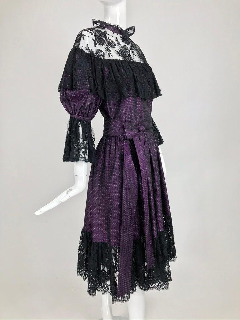 Yves Saint Laurent Purple Metallic Dot Black Lace Dress Documented 1980s  For Sale 8