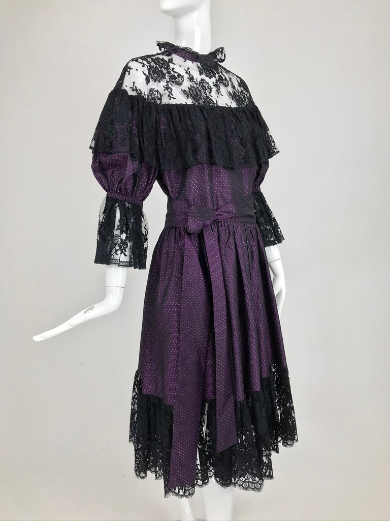 Yves Saint Laurent Purple Metallic Dot Black Lace Dress Documented 1980s  For Sale 9
