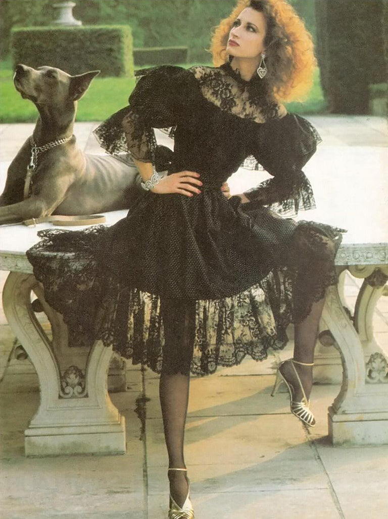 Yves Saint Laurent Purple Metallic Dot Black Lace Dress Documented 1980s  For Sale 11