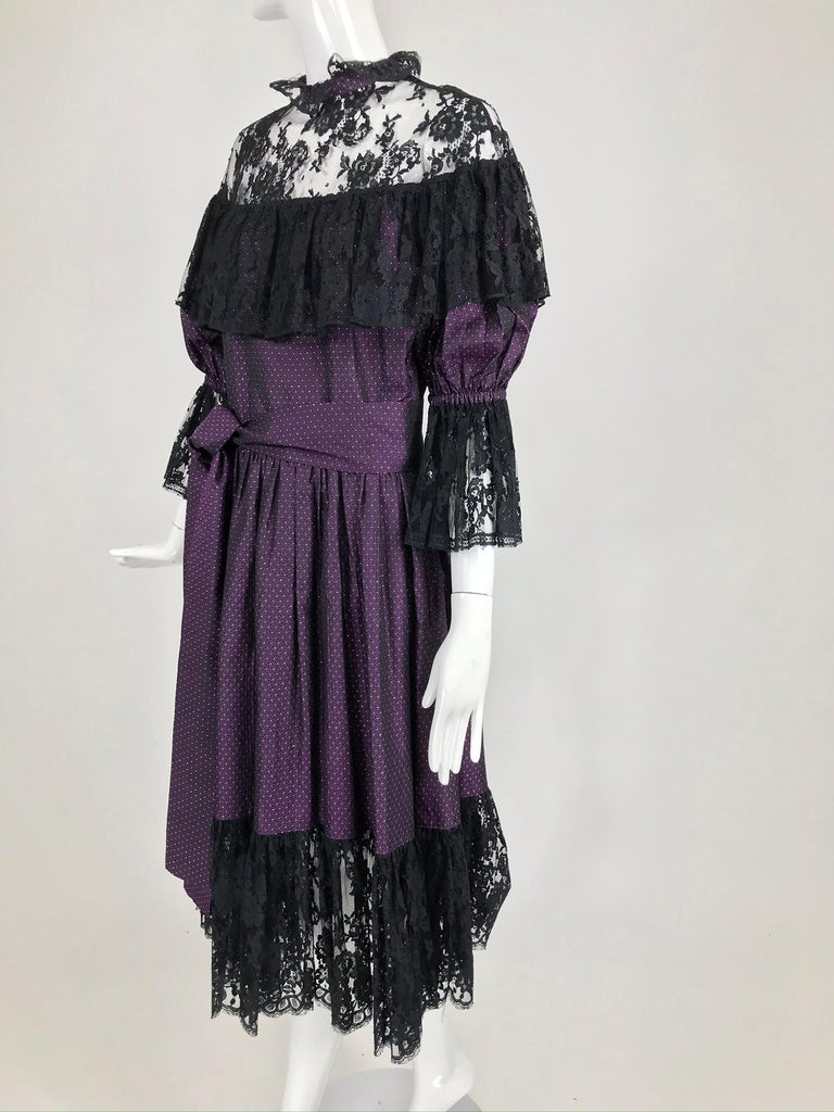Yves Saint Laurent Rive Gauche purple dotted silver metallic silk with black lace yoke, cuffs and hem from the 1980s documented. This beautiful dress has a deep yoke of black lace that shows off the shoulder, the yoke is trimmed with a deep lace