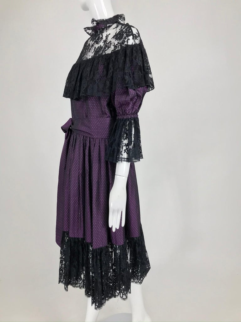 Yves Saint Laurent Purple Metallic Dot Black Lace Dress Documented 1980s  In Good Condition For Sale In West Palm Beach, FL