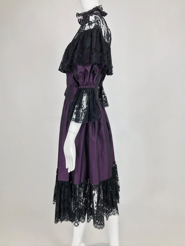Women's Yves Saint Laurent Purple Metallic Dot Black Lace Dress Documented 1980s  For Sale