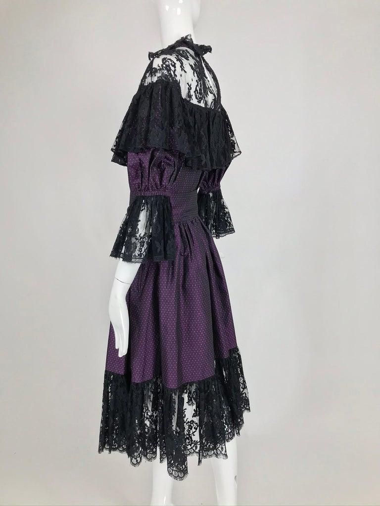Yves Saint Laurent Purple Metallic Dot Black Lace Dress Documented 1980s  For Sale 1
