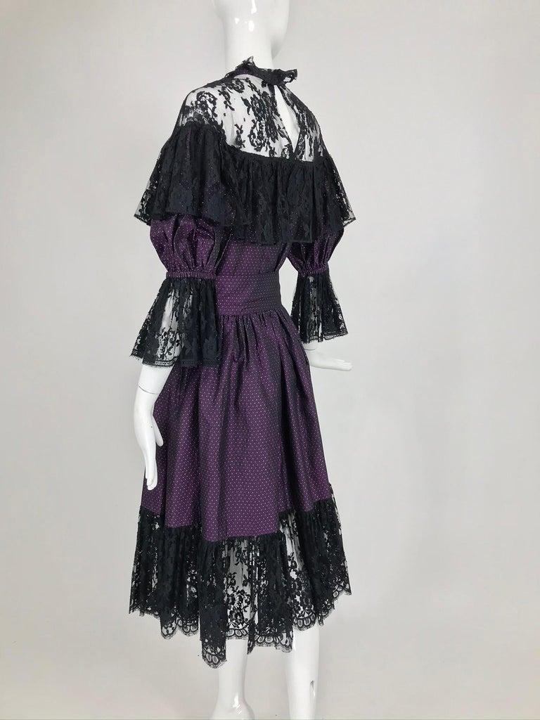 Yves Saint Laurent Purple Metallic Dot Black Lace Dress Documented 1980s  For Sale 2