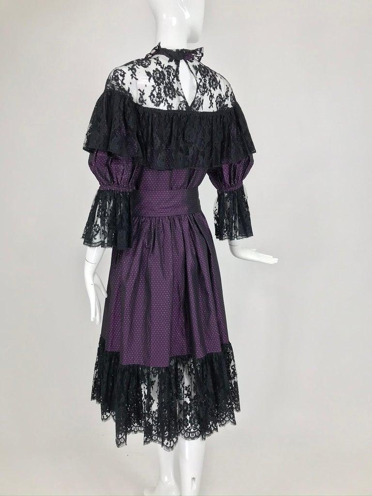 Yves Saint Laurent Purple Metallic Dot Black Lace Dress Documented 1980s  For Sale 3