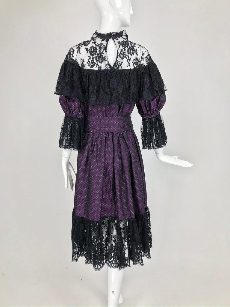 Yves Saint Laurent Purple Metallic Dot Black Lace Dress Documented 1980s  For Sale 4