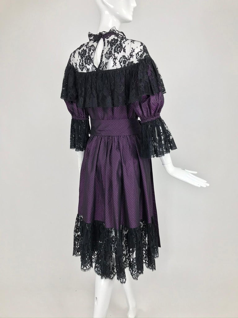 Yves Saint Laurent Purple Metallic Dot Black Lace Dress Documented 1980s  For Sale 5