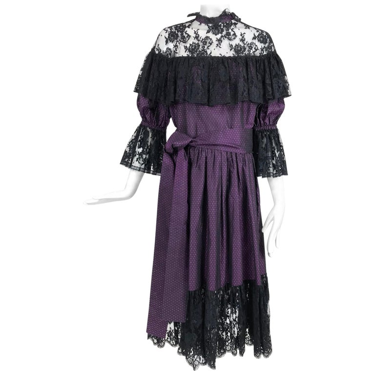 Yves Saint Laurent Purple Metallic Dot Black Lace Dress Documented 1980s  For Sale