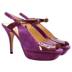 Yves Saint Laurent Purple Peep-toe Suede & Patent Sandals 38.5