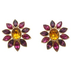 Yves Saint Laurent Purple & Yellow Floral Clip-On Earrings