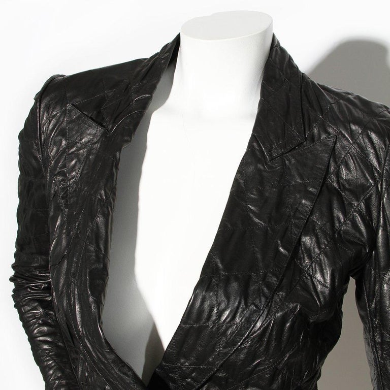 Black Yves Saint Laurent Quilted Leather Jacket For Sale