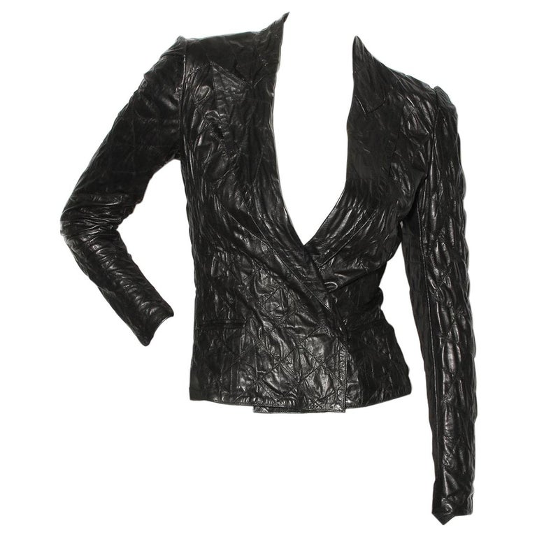 Yves Saint Laurent Quilted Leather Jacket For Sale