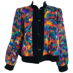 Yves Saint Laurent Quilted Modern Print Challis and Velvet Jacket 1980s