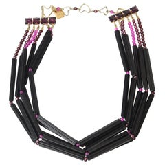 Yves Saint Laurent Rare Black and Purple Glass 6 Strand Necklace Vintage
