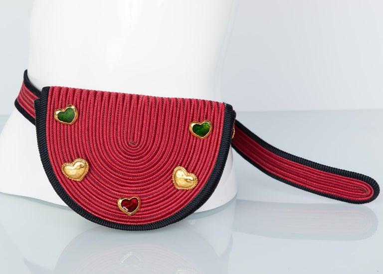 Yves Saint Laurent Red Black Passementerie Gripoix Hearts Clutch/ Belt Bag YSL In Excellent Condition For Sale In Boca Raton, FL