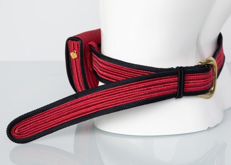 Women's Yves Saint Laurent Red Black Passementerie Gripoix Hearts Clutch/ Belt Bag YSL For Sale