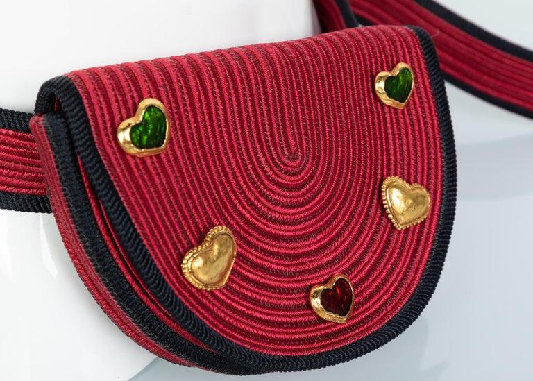 Yves Saint Laurent Red Black Passementerie Gripoix Hearts Clutch/ Belt Bag YSL For Sale 1