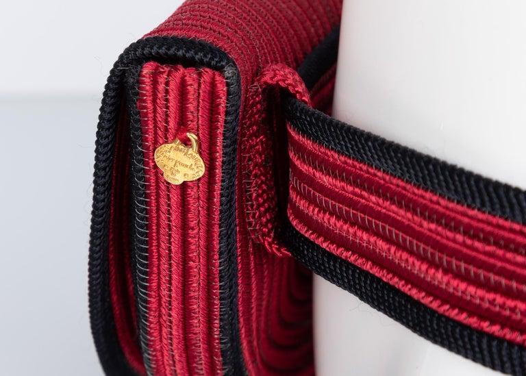 Yves Saint Laurent Red Black Passementerie Gripoix Hearts Clutch/ Belt Bag YSL For Sale 2