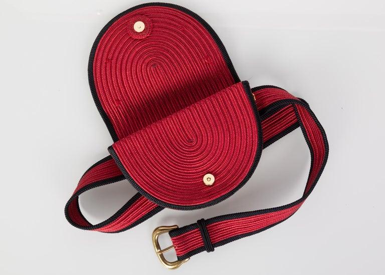 Yves Saint Laurent Red Black Passementerie Gripoix Hearts Clutch/ Belt Bag YSL For Sale 3