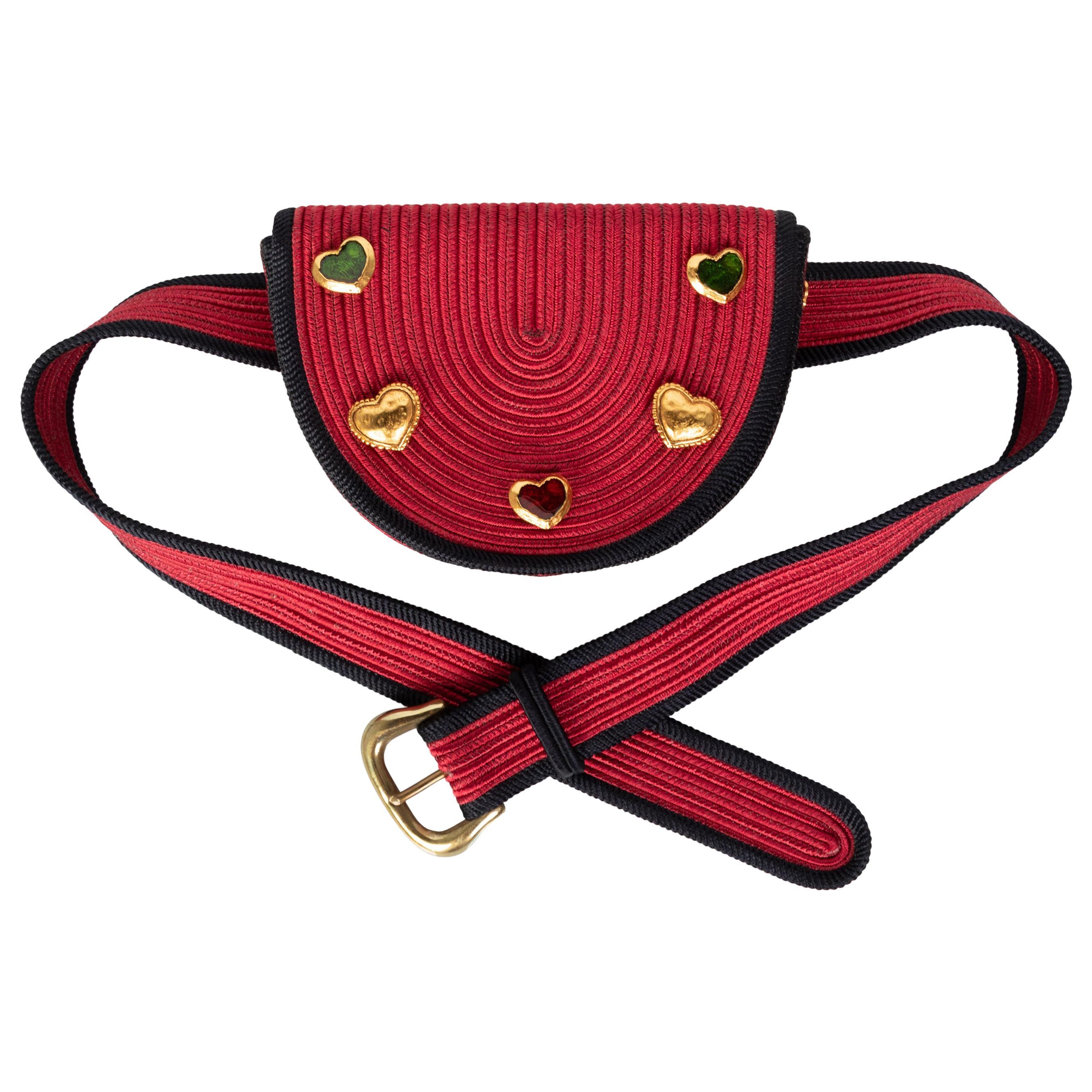 Yves Saint Laurent Red Black Passementerie Gripoix Hearts Clutch/ Belt Bag YSL