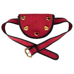 Yves Saint Laurent Red Black Passementerie Gripoix Hearts Clutch/ Belt Bag YSL