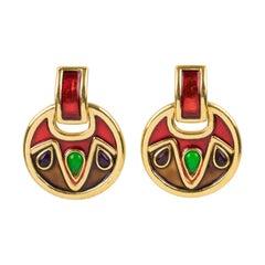 Yves Saint Laurent Red Enamel Clip Earrings Dangle Door Knocker