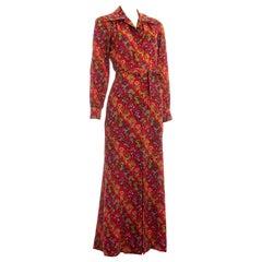Yves Saint Laurent red floral cotton maxi summer dress, ss 1971
