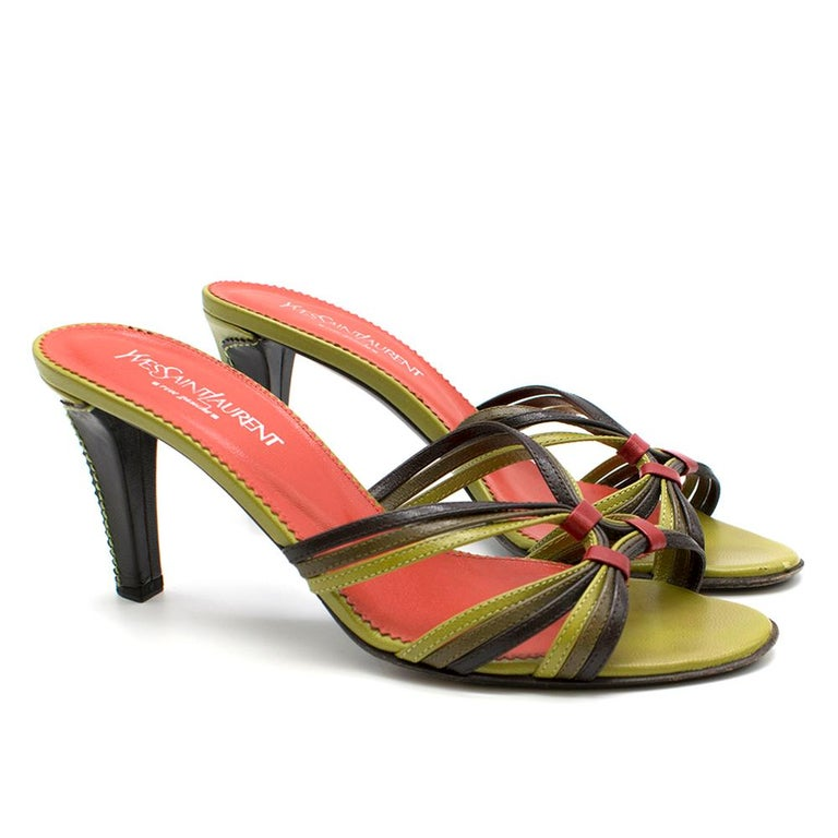 Yves Saint Laurent Red & Green Vintage Sandals  Three tone strap with red detailing  Green sandal  Red insole  Dark brown sole Half brown half green heel with stitch detailing  Box included Extra heel pins included   Please note, these items are