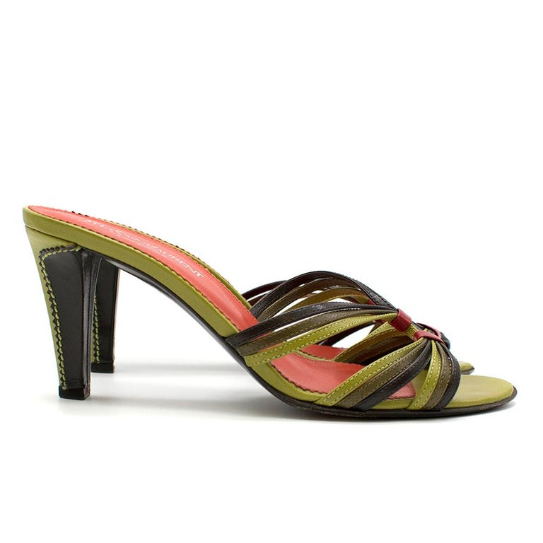 Yves Saint Laurent Red & Green Vintage Sandals SIZE 38 In Good Condition For Sale In London, GB