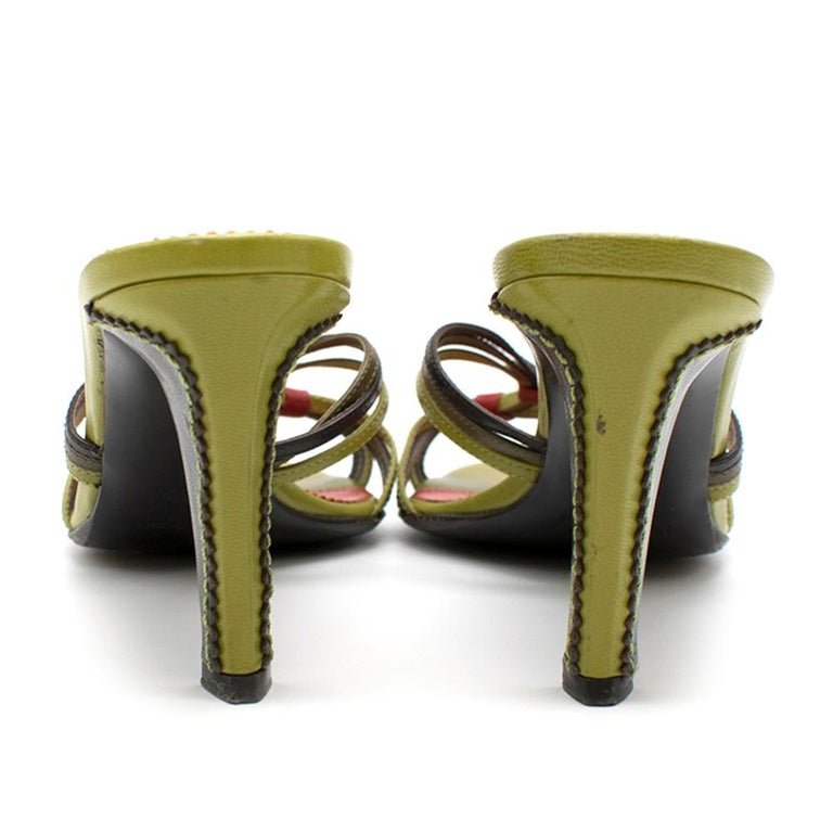 Women's Yves Saint Laurent Red & Green Vintage Sandals SIZE 38 For Sale