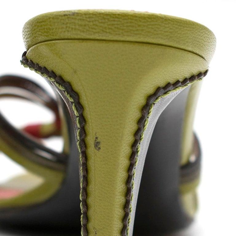 Yves Saint Laurent Red & Green Vintage Sandals SIZE 38 For Sale 1