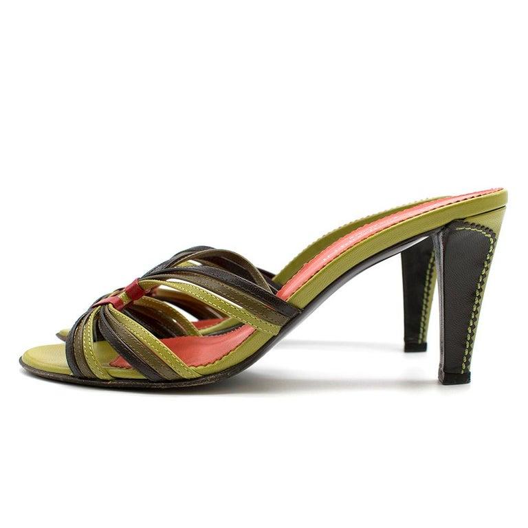 Yves Saint Laurent Red & Green Vintage Sandals SIZE 38 For Sale 2