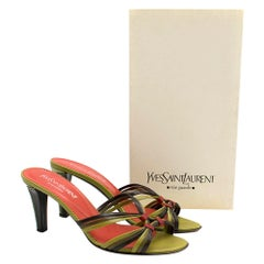 Yves Saint Laurent Red & Green Vintage Sandals SIZE 38