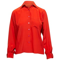 Yves Saint Laurent Red Silk Button-Up Top